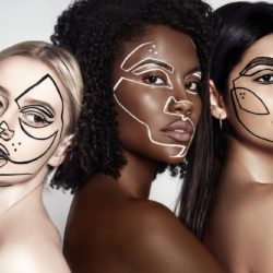 A portrait with three women, with frawings contouring their faces.